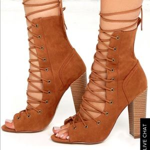 Lulu's Shoes - Camel brown, lace up heels